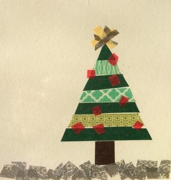 こちらは、マスキングテープで表現したクリスマスツリー。素朴で可愛らしいですね。
