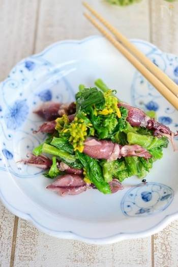 富山湾では、3月1日が解禁日のホタルイカ。3~4月が身入りが最もよくておいしい時期だそうです。こちらは、菜の花との春らしいコンビネーションの味噌オイルサラダ。酢味噌和えを、オリーブオイルを加えることで洋風の味わいに。