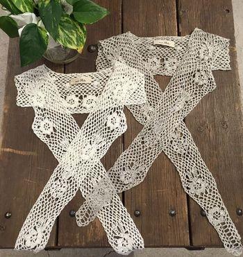 ヴィンテージな趣のあるクロシェのつけ衿。普段着ているプルオーバーにプラスすれば、着回しパターンもグッと広げてくれますよ♪