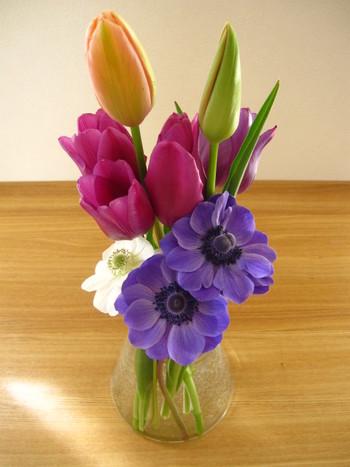 チューリップはほかのお花と合わせると、キュートなイメージがより強くなります。高低差をつけてアレンジすると、すらりとしたチューリップの美しいラインがよく分かります。