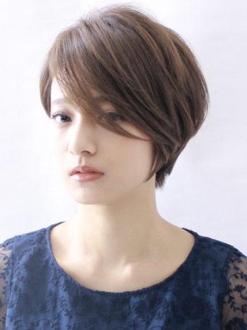 大胆にサイドから流した前髪が女性らしい印象のスタイル。気分やファッションによって分け目を変えてみては?