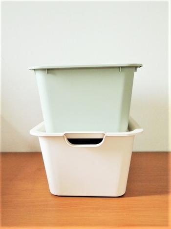 収納ボックスは、若草色のような淡いグリーンも。色を加えると明るく優しい雰囲気になりますね。