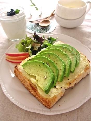 クリームチーズをたっぷり塗って、アボカドを乗せてトースターで焼いたモーニングトーストレシピ。アボカドは森のバターと呼ばれているほど栄養価が高い食材。忙しくてもパパッと作れるので、朝サッと食べられる嬉しいレシピです。クリームチーズは常温に戻して少し柔らかくしておくと塗りやすいですよ。