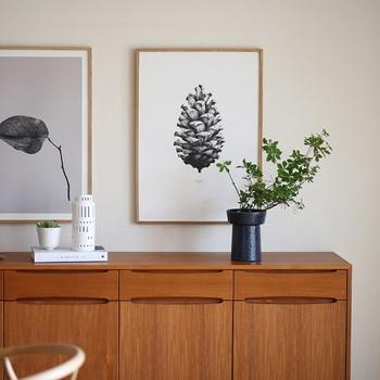 シンプルなモノトーンで描かれた、松ぼっくりのポスターです。北欧デンマークでは、空前のポスターブームが来ているとか。壁に掛けてもよし、床に置いて立てかけてもよし。ポスターを飾るときは、手前に植物をディスプレイすると、奥行き感が出ておすすめです。