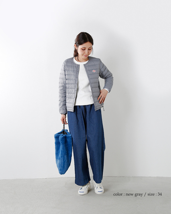 軽くてあたたかなインナーダウン。もちろんアウターとしても着ても可愛い♪パンツスタイルにはもちろん、ふんわりとしたハイウエストスカートと合わせても、バランスよくきまる優秀アイテムです。