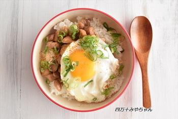 鶏肉の上にスパニッシュフライドエッグを乗せるだけの、さっと簡単にできる親子丼。半熟の黄身を少しずづ崩しながらいただきます♪