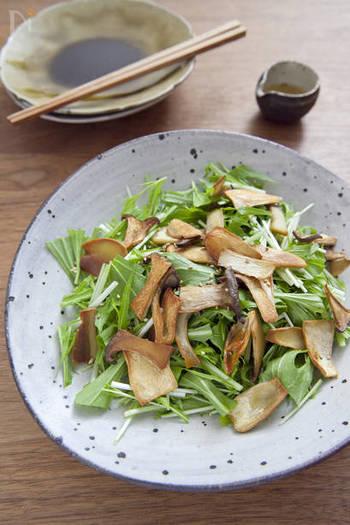オーブンでカリカリ食感に焼いたきのことごま油の香ばしさで、ついつい箸が進む水菜のサラダ。 好みのきのこで、色んなアレンジを楽しんでみて♪