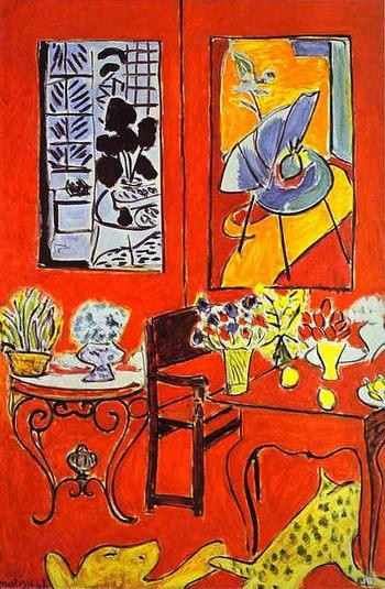 さらにマティスが多く描いたカテゴリーのひとつ「室内」。引き込まれるような鮮やかな赤が特徴のこちらの絵は、一見平面ともとれるような構図で、よく見ると奥行がある室内を描いています。