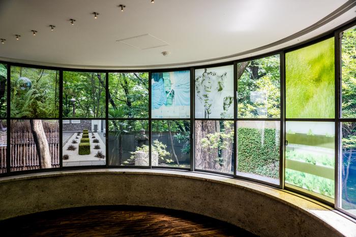 過去には、ドイツの新鋭アーティスト、メンヤ・ステヴェンソンの作品展も行われ、窓部分に鮮やかな作品が飾られました。