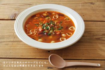 深さがある9インチは、ポトフやスープなどの汁物は勿論、パスタ、リゾットの盛り付けに丁度良いサイズ。どれも、優し気な色合いが魅力的で、食卓にあるだけで、ほっこりとした気分になれそうです。