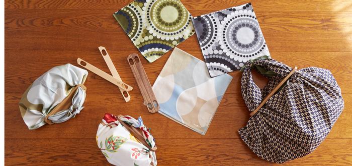 風呂敷やお気に入りの布を結んで、簡単にオリジナルのバッグが作れる「風呂敷パッチン」。