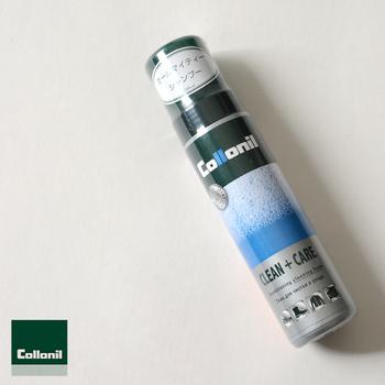 汚れを落とし、さらに素材を保護するクリーニングとコンディショニングが一体になった便利な1本。革、スエード、合皮、キャンパス地など幅広い素材に使えます。ドイツのレザーケアブランド「Collonil(コロニル)」のプロダクト。