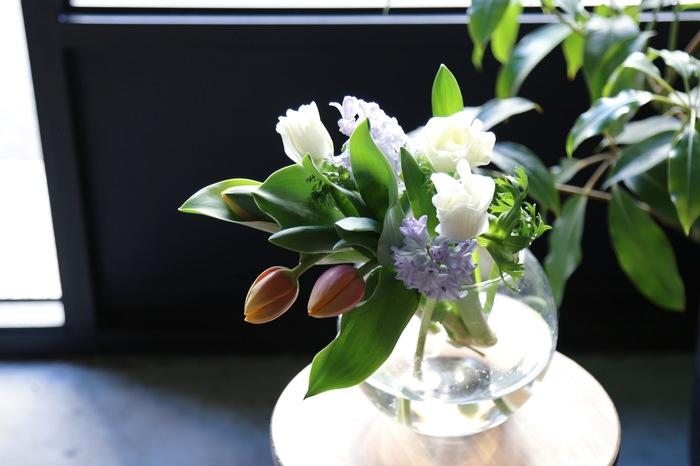 個性的で色鮮やかなチューリップは単品でも素敵に飾れますが、他の花と合わせてみてもまた違った魅力を発揮してくれます。チューリップと同じ彩度の鮮やかな色合いの花をあわせると、互いに良く馴染み、春らしいアレンジに。