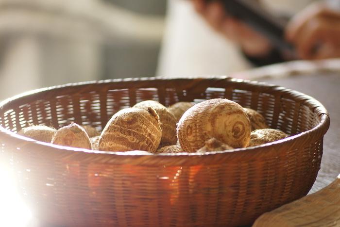 里芋は、冷温障害を起こしますので冷蔵庫に入れません。土を落とさず、新聞紙でくるんで風通しのいいところに保存しましょう。
