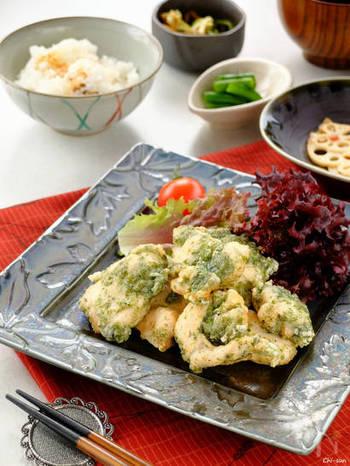 天ぷら粉が無くても、卵白の衣で軽ーい食感の天ぷらに。衣に味つけするので、海苔塩の風味が引き立ちます。冷めてもふんわりさっくり、お弁当におすすめです。