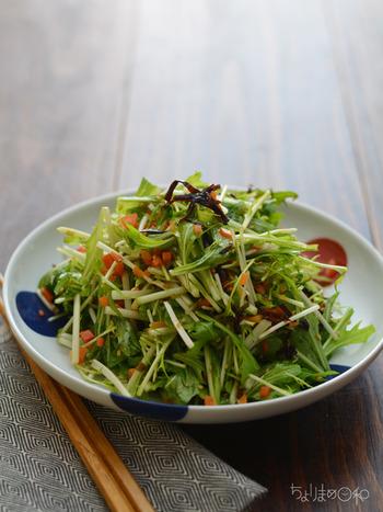 油と相性のいい緑黄色野菜の人参と名脇役の塩昆布の働きで、翌日でも美味しくいただける水菜のサラダです。 シャキシャキした歯ごたえとさっぱりしたお味で、お肉などの脂っこい料理の付け添にも合いますね!
