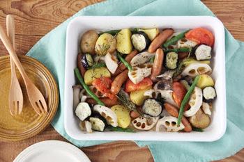 そのままオーブンOKだから野菜のグリルも食材を並べて塩コショウをしてハーブを置いてオーブンへ。できあがったらそのままテーブルに並べられるから手間いらずです。