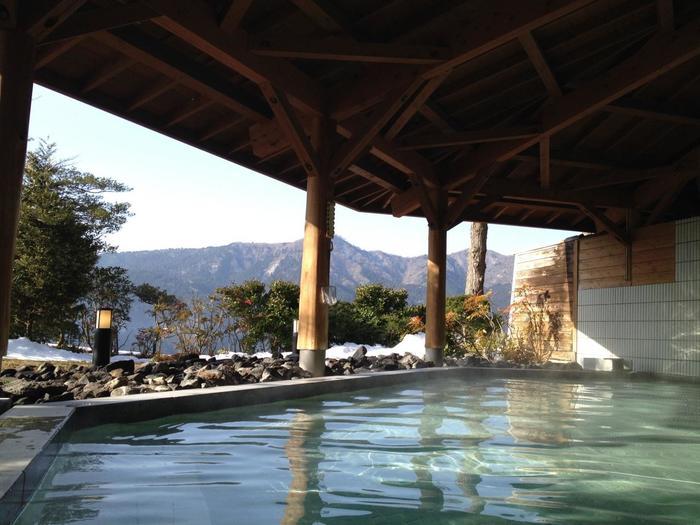 箱根温泉郷の特色は、この温泉場の数の多さに加えて、各温泉場毎に泉質(効能)が異なることにもあります。アルカリ性の単純温泉や酸性泉、硫黄泉など等、箱根の温泉は、泉質が様々で、実にバラエティ豊かです。  【「ザ・プリンス箱根芦ノ湖」の芦ノ湖を望む露天風呂。プリンス箱根では、敷地内の自家温泉「蛸川温泉」の湯を引く。】
