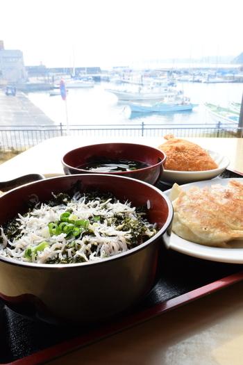 リーズナブルにロケーションも楽しめる「葉山港湾食堂」もおすすめです。「港湾食堂セット」は、岩のりしらす丼・アジフライに葉山餃子が6個もついてボリューム満点。