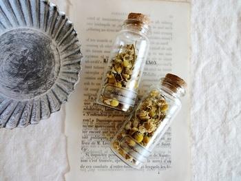 リラックス効果のあるお茶として楽しまれることも多いカモミールは、さまざまな効能から「マザーハーブ(母の薬草)」とも呼ばれているそう。白く小ぶりな花も可愛く、りんごのような甘い香りが特長です。アロマオイルも人気ですが、ドライフラワーはより穏やかで優しい香りが楽しめますよ。