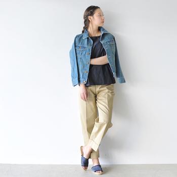 """定番の""""Gジャン""""。あらゆるアイテムとコーディネートしやすいだけでなく、サクッと羽織れる使い勝手の良さも人気の理由です。 シーズンごとにデザインも豊富にラインナップされていて、ディテールにこだわるほど上級者感のあるデニムルックに。ですがその色・形は常に進化を続けているので、とっておきの一着を絞りこむのはなかなか難しいところです。"""
