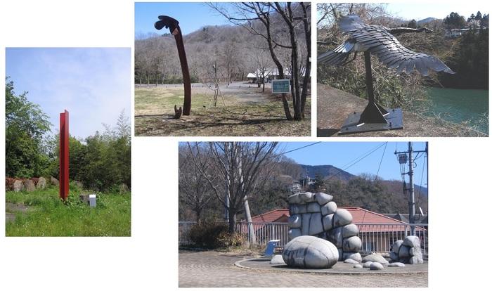 画像左:「景の切片」(菅 木志夫)、真ん中上:「記憶容量ー水より、台地より」(岡本 敦生)、同右:「カナダ雁」(ジム・ドラン)、下:「空と大地のヒューズ」(高橋 政行)。(筆者撮影)
