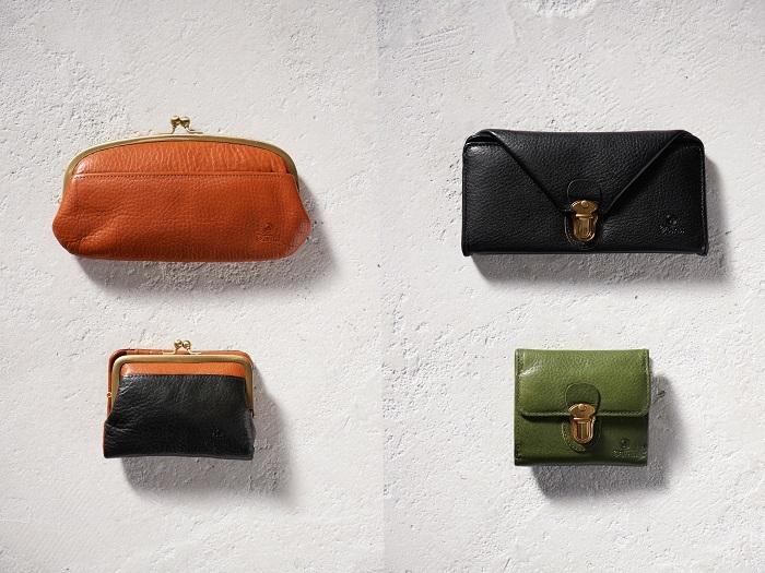 手触りが良く、経年変化が楽しめるヌメオイルシュリンクの牛革を使用した財布も人気。 最も人気があるのはかわいらいしいがま口財布。 他にも封筒のように折りたたまれた収納力抜群の財布、小さめバッグにも入るコンパクトな財布など様々なバリエーションがあります。