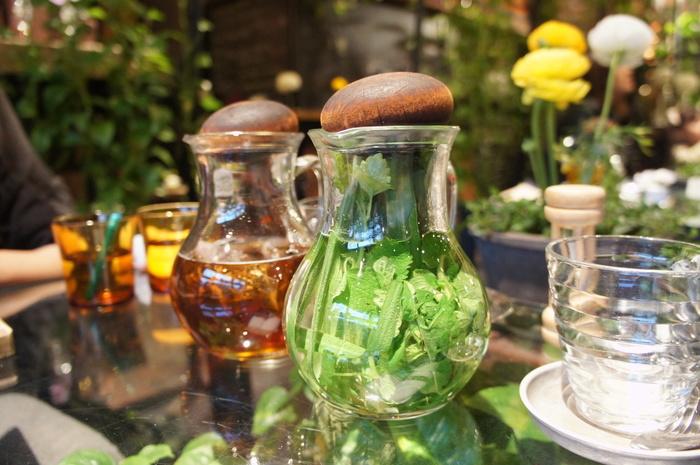 """花が生まれ育つ""""温室""""をイメージした店内は緑にあふれ、空間自体が「癒し」そのもの。ガラスのポットにたっぷりのハーブで淹れられたお茶は、眺めているだけでもリラックス効果がありそう。"""