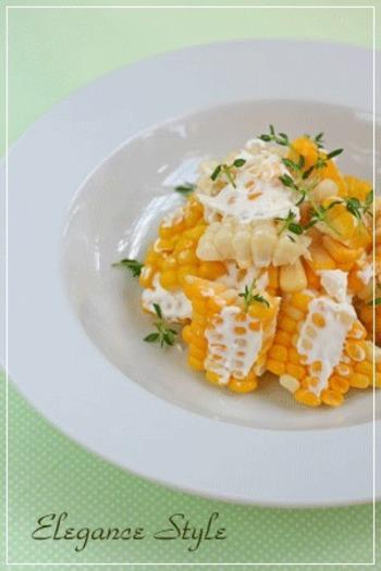 茹でたぷりぷりの甘いとうもろこしにマイルドな食感のマスカルポーネ。サラダというよりデザートのような一品です。
