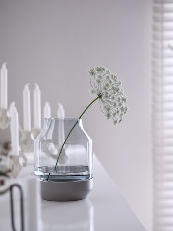 白いレースフラワーのように茎のラインを見せたいときは、ガラスの花器がいいですね。エレベーティッドベースは下の部分がウッドになっています。なめらかな水面もオブジェのように見えますね。