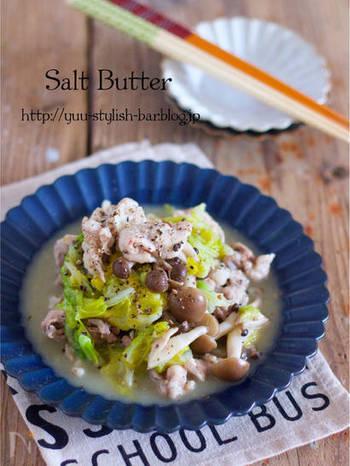 豚こまと春キャベツ、しめじを塩バターで♪キャベツは春キャベルでなくてもOK。ピクニックに持っていきたいレシピです。