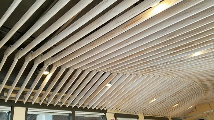 客室車両4号車では天井に埼玉県の名材、西川材がはり渡されています。緩やかにカーブを描くデザインと木材の温かみで、とても穏やかなゆったりとした心地になります。