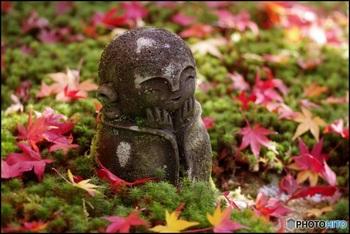 庭園にはひっそりと優しく微笑むお地蔵様もいらっしゃいます。見ているだけで、心もほっこりしますね。