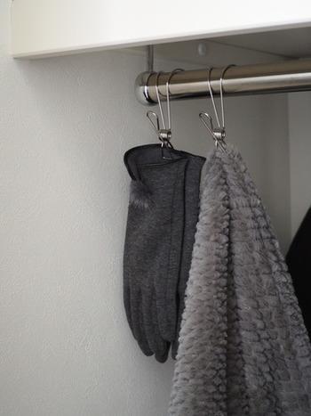 こちらはフック付きのステンレスピンチ。手袋やスカーフなど細々としたものをクローゼットに吊るしておけます。