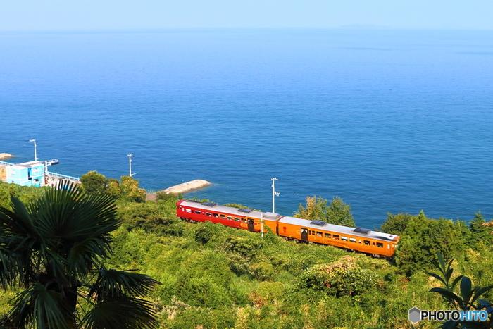 2両編成の車両は、伊予灘の海のクライマックスを彩る夕日をイメージさせる「茜色」と、太陽や愛媛県名産の柑橘を表現する「黄金色」の2色。海と空の青の中をひたすら進む姿は、鮮やかな外観が一層際立ちます。