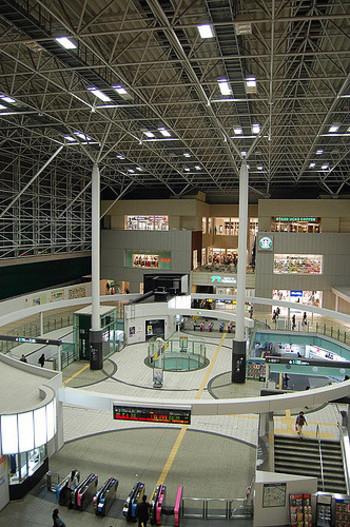 130あまりの専門店が入ったショッピングモール「たまプラーザテラス」に直結するたまプラーザ駅。田園都市線は、この駅から横浜市に入ります。