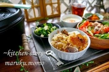 菊芋と鯖の水煮缶を使った簡単炊き込みご飯。鯖缶は汁ごと使って旨味アップ♪