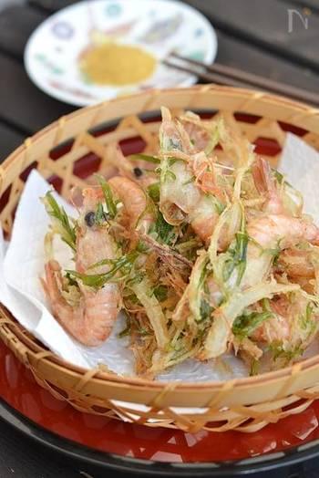 サクサク、あっさりとした小エビのかき揚げ天ぷらも、日本酒とのバランスが◎ 季節に合わせて使う青菜を変えてみるのも、良いですね。