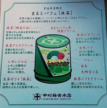 中身を解説したものも一緒に出してくれます。一番人気の抹茶ゼリイもしっかり入っています。レモンジャムやベリーの酸味が意外にも抹茶に合うのだとか。 最後のひと口まで、濃厚な抹茶の風味が楽しめる計算しつくされたパフェは、並んででも食べる価値ありです。