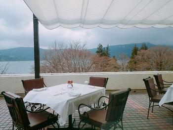 本館1階のフランス料理レストラン「Vert Bois(ヴェル・ボワ)」は、芦ノ湖とホテルの庭園に面して大きく窓がとられ、ゆったりと落ち着いた雰囲気。テラス席は、季節の風を感じながら芦ノ湖や富士山が見渡せるビューポイントです。