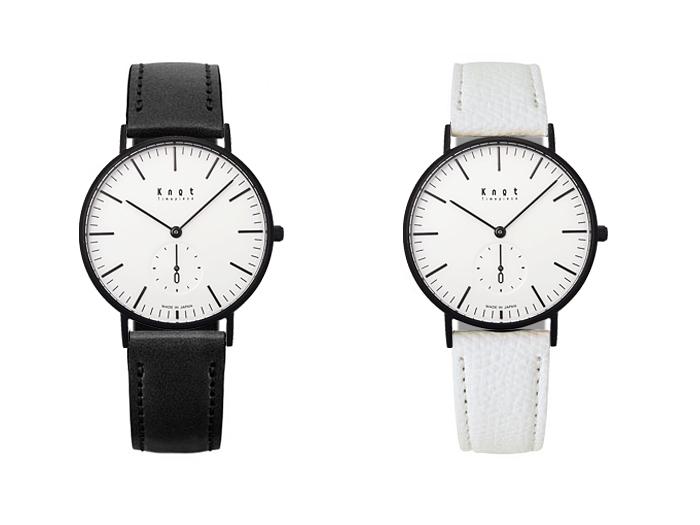 ■時計本体 クラシックシリーズ CS-36BKWH ¥15,000 ■ストラップ (左)栃木レザートラディショナルシェイプTT-16BKBK ¥4,000、(右)姫路セミグレインレザーTH-16WHBK ¥4,000