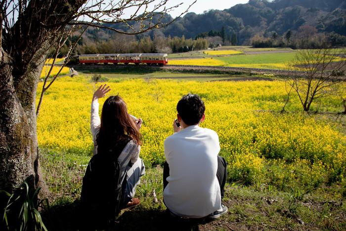 春に一面の菜の花畑が広がる石神は、養老渓谷駅から上総久保方面へ15分ほど歩いたところにあります。