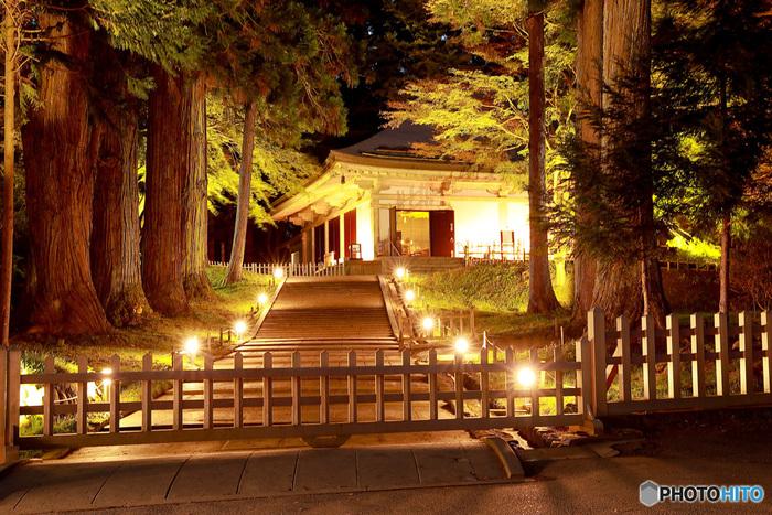 ライトアップされた中尊寺金色堂です。昼間の景色とは一味違う、幻想的な世界が広がっています。