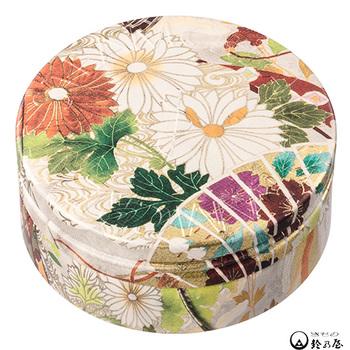 こちらは着物の鈴乃屋さんとのコラボ缶。はんなりとした和柄が素敵。浴衣でのお出かけの時に巾着に忍ばせておくのもいいですね。