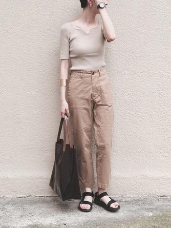 ライトベージュにチノパンといったミディアムトーンの組み合わせは、バッグや靴の色で印象が変わります。クリア素材のブラウンカラーのトートと素足を覗かせた黒のサンダルで、シックでありながら軽やかな印象を作っています。