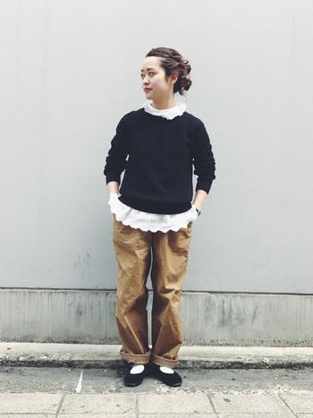 メンズサイズのカジュアルなパンツにセーターというメンズライクな組み合わせをフリルで味付け。襟と裾をちょこっと出ししたところが巧み。大人のかわいらしさが絶妙な加減で表現されています。