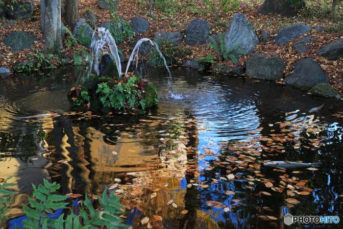 """境内にある「武甲山(ぶこうさん)」の伏流水が湧き出す""""秩父最古の泉""""「龍神池」。龍神さまが住んでいるという言い伝えがあります。  毎年4月4日に執り行われる""""水分(みくまり)祭""""で、龍神池の湧き水を秩父神社に授与し、その水を再び武甲山に戻すお祭りが12月3日に秩父神社で行われる「秩父夜祭り」です。"""
