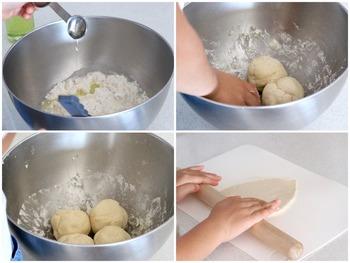 こんな風に生地をこねて伸ばし、フライパンで焼くだけでふんわりとしたナンが手軽に作れます。簡単なので、お子様と一緒に挑戦してみては?