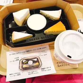 お店の名前を一躍有名にしたベイクドチーズケーキ「御用邸チーズケーキ」をはじめ、5種類のチーズケーキが少しずつ楽しめるアソートセット。一口サイズなので、ひとりで食べてもシェアしても良いですね。