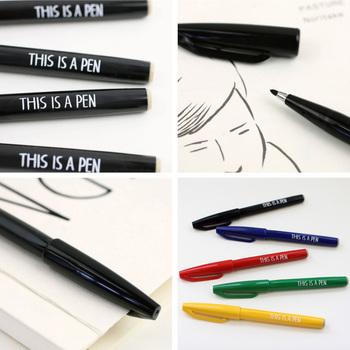 こちらもNoritakeさんデザイン。「THIS IS A PEN」とプリントされているサインペンです。 THIS IS A PEN…かつて英語の授業で習った、懐かしいフレーズですよね。誰かに貸し出すときに、口に出してみては♪